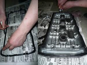 Смазываем герметиком новую прокладку и крышку головки цилиндров