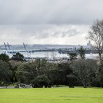 A view on Domain drive, Port of Auckland and Devonport from Auckland Domain